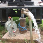 Test pumping a borehole